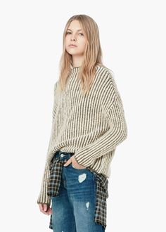 Bicolor wool sweater - Cardigans and sweaters for Women   MANGO