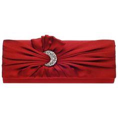 Damara Womens Pleated Satin Moon Shape Crystal Clutch Evening Bag (1.055 RUB) ❤ liked on Polyvore featuring bags, handbags, clutches, handbags purses, red handbags, evening hand bags, hand bags and evening handbags