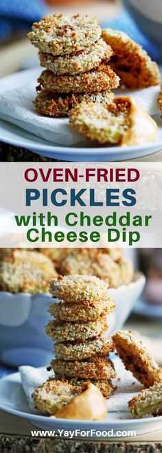 Oven-Fried Pickles with Cheddar Cheese Dip - Crispy panko breadcrumb crusted pickles are a quick, easy, and tasty snack choice that's baked not fried. Serve with a quick homemade cheese dip! Best Appetizer Recipes, Yummy Appetizers, Yummy Snacks, Snack Recipes, Protein Recipes, Potato Recipes, Cake Recipes, Cooking Recipes, Appetizer Ideas