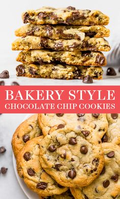 These are the BEST Bakery Style Chocolate Chip Cookies! Easy homemade recipe tha… These are the BEST Bakery Style Chocolate Chip Cookies! Easy homemade recipe that is SO chewy, chocolatey and delicious! Recipe by Tessa of Handle the Heat. Bakery Style Chocolate Chip Cookie Recipe, Perfect Chocolate Chip Cookies, Chocolate Chip Recipes, Chocolate Chocolate, Homemade Chocolate Chip Cookies, Chcolate Chip Cookies, Chocolate Biscuits, Healthy Chocolate, Easy Cheesecake Recipes