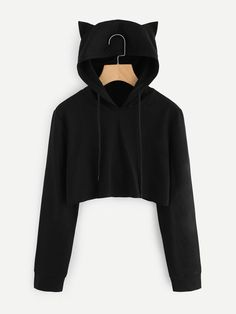 Women Autumn Sweatshirts Women Solid Kpop Long Sleeve Hoodies Sweatshirt Women Cat Ear Hooded Pullover Crop Harajuku Clothes - Clothing For Teens Teen Fashion Outfits, Trendy Outfits, Cool Outfits, Fashion Dresses, Crop Top Hoodie, Cropped Sweater, Cropped Jumpers, Cute Hoodie, Cute Jumpers