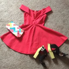 Lulus Off Shoulder Plunge Dress Super Soft M