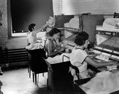 1937, a DuPont factory begins to produce new nylon toothbrushes. Here women bundle the bristles for them. Hagley Digital Archives.