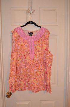 Carol Little 3X Linen Paisley Sleeveless Top Brand New #CaroleLittle #Blouse #Casual