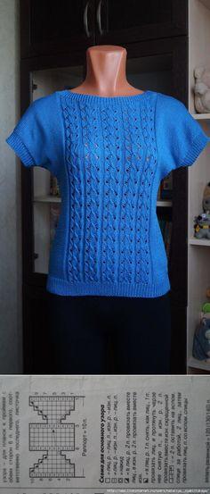 Голубой топ Автор Наталья GorDANA Knitting Designs, Knitting Projects, Crochet Projects, Knitting Patterns, Crochet Patterns, Poncho Tops, Knitted Blankets, Vintage Patterns, Blue Tops