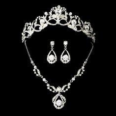 Elegance by Carbonneau Swarovski Bridal Jewelry & Tiara Set NE 8265 & HP 8113 Swarovski, Headpiece Jewelry, Bridal Jewellery, Bling Wedding, Bridal Necklace, Necklace Set, Wedding Jewelry Sets, Wholesale Jewelry, Bridal Accessories