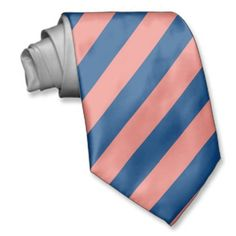 The Only Coral and Navy Striped Tie Ever