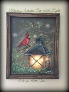 This is So Unique ! Lantern in the Summer Cardinal and fireflycomes by RebecaFlottArts This is So Unique ! Lantern in the Summer Cardinal and fireflycomes by RebecaFlottArts Painted Window Screens, Painted Window Art, Painted Glass Blocks, Tole Painting, Acrylic Painting Canvas, Painting & Drawing, Canvas Art, Christmas Paintings, Christmas Art