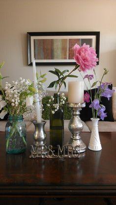 Vintage/Mismatch Vases, Coffee Table Decor
