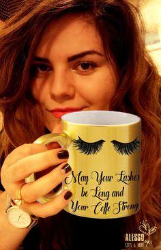 EYELASHES MUG in gold / silver. Luxury eye lashes Personalised coffee/tea mug. Custom name Mascara & Coffee Lashes extensions make-up beauty Personalised Mugs, Personalized Gifts, Perfect Eyelashes, Alesso, Mug Printing, Name Gifts, Pottery Painting, Ceramic Mugs, Tea Mugs