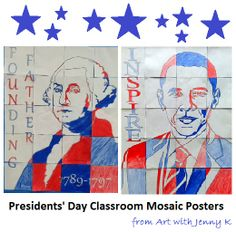 Great classroom art activity to supplement any lesson you teach on Presidents' Day!! Mosaic posters of Washington and Obama--each student gets to contribute a piece!