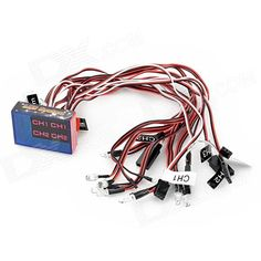 12-LED Flashing Light Kit for 1/10 R/C Car - Red + Black + White. Brand N/A Quantity 1 Piece(s)/pack Color Black + red + white Material PVC Compatible device R/C cars Functions Lighting Other Feature Dimension: 4.7cm x 3.2cm x 1.2cm; Radio system supported: FM 2.4GHz; LED qty: 12 (5mm: 8pcs, 3mm: 4pcs); LED color: white: 5mm (4pcs), yellow: 3mm (4pcs), red: 5mm (2pcs), blue: 5mm( 2pcs); Suitable for RC 1/10 car; LED wire length: about 30cm; Main control board wire: about 25cm Packing List 12…