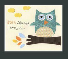 Nursery wall art print, Baby boy room decor, Owls ...OWL always love you.....aqua orange. $17.00, via Etsy.