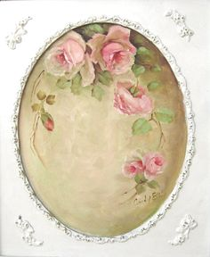 Free Printable Oval frame W/roses.