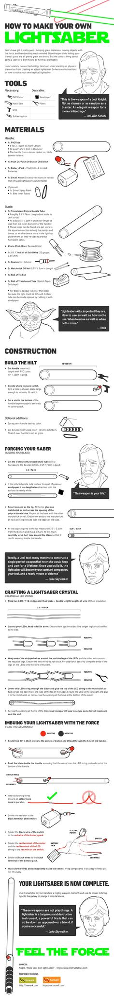 How to make a Starwars lightsaber infograph Star Wars diy Jedi weapon tutorial