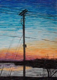 Between the Telephone Wires - Sunrise Chalk Pastel on paper