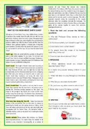 English worksheet: CHRISTMAS-WHAT DO YOU KNOW ABOUT SANTA?-READING +SPEAKING+WRITING