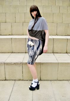 Nottingham based fashion brand, GUARDEN. Two Tone, Unisex Moon Crescent T-shirt (Women's Version) - Modeled by Lauren Marie