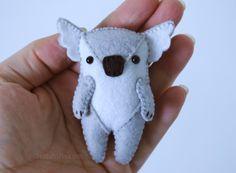 Stuffed Koala Felt Ornament Or Pocket Stuffie * Ready To Ship* Adorable Mini Felt Koala Kawaii Feltie by DelilahIris on Etsy