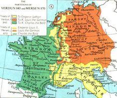 Carte du royaume des Francs de 843 à 870
