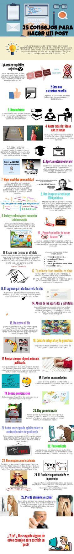 25 consejos para hacer un post. Infografía en español. #CommunityManager