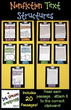 $ This engaging activity puts a fun spin on learning nonfiction text structures!  It also makes a creative bulletin board or school hallway display!  It can even be used as a valuable addition to your students' interactive notebooks for informational text structures!    DESCRIPTION, SEQUENCE, CAUSE AND EFFECT, COMPARE AND CONTRAST, PROBLEM AND SOLUTION  $