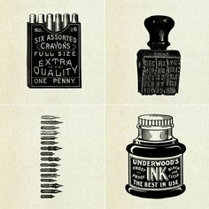 prints of vintage office supplies