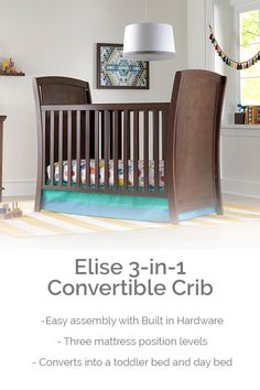 The Elise Crib has three stages that will grow with your baby from infancy to toddler years. Starting as a traditional crib, Elise transforms into a toddler bed and daybed. It also has built-in hardware, so putting it together is quick and easy! Nursery Furniture, Nursery Room, Nursery Decor, Traditional Cribs, Harry Potter Nursery, Dinosaur Nursery, Preparing The Nursery, Infancy, Convertible Crib