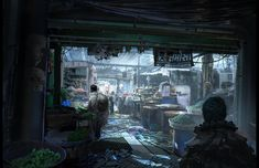 Here's a depiction of a marketplace from the Underground City in ARK. The citizens make do with what they have, some wearing trash because woven clothes are scarce. facebook.com/finnianm fmacmanus....