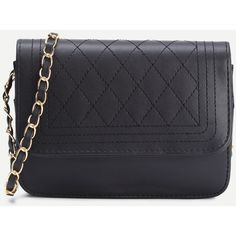 Black Faux Leather Quilted Flap Chain Bag (28140 PYG) ❤ liked on Polyvore featuring bags, handbags, shoulder bags, faux leather purses, quilted chain purse, quilted chain shoulder bag, vegan handbags and vegan leather handbags