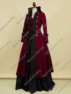 High Quality Victorian Edwardian Penny Dreadful Vampire Steampunk Pirate Coat Dress Halloween Costume