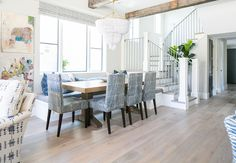 The floors are white oak by Warren Christopher Flooring. White oak with light stain. Patterson Custom Homes Light Hardwood Floors, White Oak Floors, Dining Room Inspiration, Design Inspiration, Design Ideas, Luxury Interior Design, Custom Homes, Living Room Designs, Luxury Homes