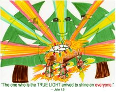 """THE TRUE LIGHT The drawing is by LiLi, a member of our church.  It represents Jesus emitting light into all the world.  """"Celebrate the Child who is the Light, Now the darkness is over. No more wand'ring in the night. Celebrate the Child who is the Light!"""" ---  Lyrics from a Christmas song we sing at NBCC: """"Celebrate The Child"""" by singer/songwriter Michael Card."""