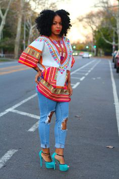 Unisex Dashiki White Shirt Kings and Queens by tribalgroove