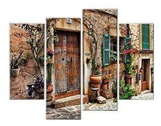 Here you will find some of the best home  wall art décor around. You will find #travel  #wall# art, #landscape wall art, #fantasy home wall art décor, animal wall art  home #décor, love wall art and so much more.  All beautiful, trendy and charming accents for your home.      Very artistic Giclee Artwork 4 Panel Wall Art Streets Of Old Mediterranean Towns Flower Door Windows Painting The Picture Print On Canvas Architecture Pictures For Home Decor Decoration