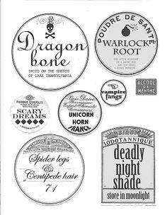 Poison Bottle Labels from HP Spooky! of my favorite words) Free Printable Halloween Bottle & Potion Labels f. Halloween Tags, Halloween Bottle Labels, Halloween Apothecary, Halloween Potions, Theme Halloween, Apothecary Jars, Holidays Halloween, Halloween Crafts, Vintage Halloween