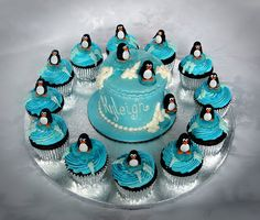 Stacey's Sweet Shop - Truly Custom Cakery, LLC: Penguin Mini Cake and Cupcakes with sugar icebergs. Cupcake Cookies, Penguin Birthday, Penguin Party, Flamingo, Penguin Baby Showers, Penguin Cakes, Cupcake Heaven, Love Cake, Penguin