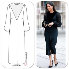 Image may contain: 1 person, standing Dress Design Sketches, Fashion Design Sketches, Meghan Markle Dress, Modest Fashion, Fashion Outfits, Fashion Artwork, Dress Tutorials, African Fashion Dresses, Fit And Flare
