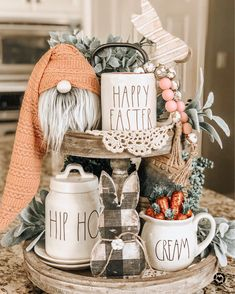 decorations for the home display Easter Tiered Tray Kitchen Island Decor, Tray Styling, Spring Home Decor, Easter Crafts, Easter Decor, Tray Decor, Seasonal Decor, Farmhouse Decor, Country Farmhouse