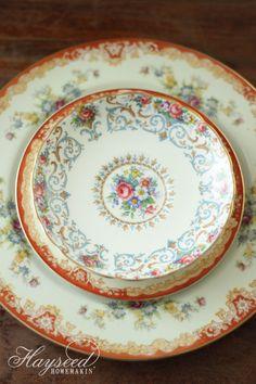 Hayseed Homemakin': Mismatched China : Plates & Saucers #fall