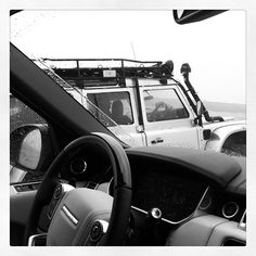 Joe DeMatio caught this shot of a Land Rover Defender...through the windscreen of a 2013 Range Rover.