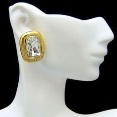 MAGNIFICENT MONET POSTS! Gorgeous, large emerald cut stones with small rhinestones at the edges. $44.95