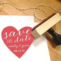 Heart Save the Date Stamp with names and wedding by Designkandy, $24.95