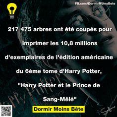 217,475 arbres ont été coupés pour imprimer les 10,8 millions d'exemplaires de l'édition américaine du 6ème tome d'Harry Potter et le prince de Sang-Mêlé.