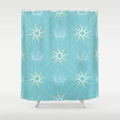 Sailing Pattern Shower Curtain by Figen Topbaş  - $68.00