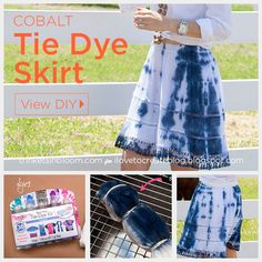 Blue and White Tie Dye Skirt DIY by Trinkets in Bloom