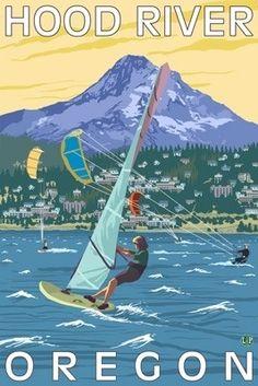 Hood River, OR - Wind Surfers & Kite Boarders - Lantern Press Original Poster