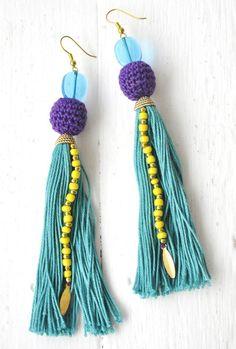 Crecca #tassel earrings with #crochet beads