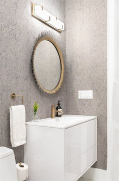 Bathroom Wallpaper Patterns, Interior Wallpaper, Room Interior, Linear Light Fixture, Dark Grey Walls, Green Velvet Sofa, Big Beds, Floating Vanity, Plumbing Fixtures