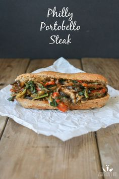 """Quick, simple, healthy comfort food for those busy nights. This vegan Philly portobello """"steak"""" sandwich is full of veggies, a touch of optional spice, and loads of flavor! Vegan Foods, Vegan Dishes, Vegan Vegetarian, Vegetarian Recipes, Healthy Recipes, Burger Recipes, Vegan Raw, Tofu Recipes, Vegan Meals"""